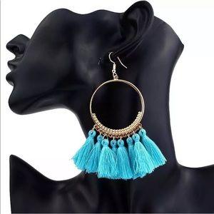 Jewelry - 🚨 5/$20 Aqua blue fringe tassel earrings